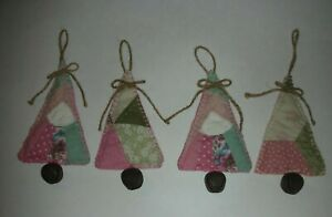 Antique Primitive Vintage Patchwork Quilt Christmas Tree Ornaments Handmade 4