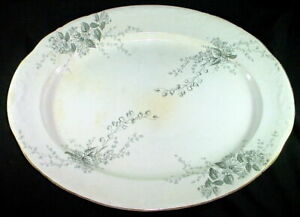 Large Antique Transferware Oval Platter Gray York Lilly Of The Valley