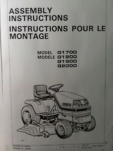 Kubota G1700 G1800 G1900 G2000 Lawn Garden Tractor Assembly Instructions Manual
