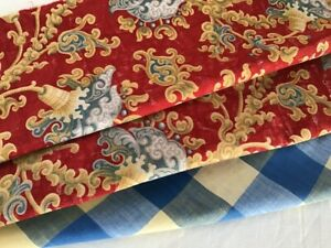 Antique Vintage French Fabrics Coordinated Bundle For Projects Floral Check