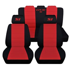 Front And Rear Seat Covers Fits A 2015 Honda Civic Si Black And Red Customized