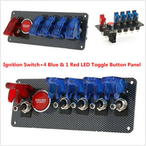 12v Racing Car Ignition Switch 4 Blue 1 Red Led Toggle Button Panel usa Stock