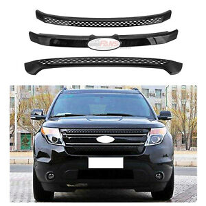 For Ford Explorer 2011 2012 2013 2014 2015 Front Grille Cover Trim Gloss Black