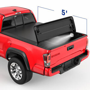 3 Fold 5ft Soft Truck Bed Tonneau Cover Waterproof For 2016 2021 Toyota Tacoma