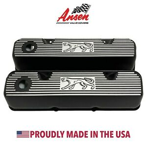Ford 351 Cleveland Valve Covers Black Cougar Logo Die Cast Aluminum Ansen Usa