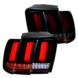 For 1999 2004 Ford Mustang Black Smoke Led Sequential Red Tube Tail Brake Lights