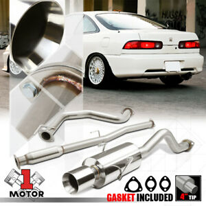 Ss Catback Exhaust System 4 beveled Tip Muffler For 94 01 Acura Integra Gs ls rs