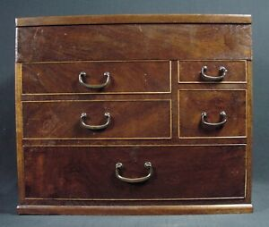 Japanese Antique Sewing Box Haribako Lidded 6 Drawer Tansu All Mulberry