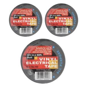 Electrical Tape Vinyl Adhesive 3 4 Inch X 60 Ft All Purpose 7 Mil Black 3 pack