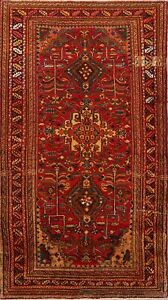 Vintage Geometric Heriz Hand Knotted Area Rug Oriental Red Home Decor Carpet 4x8