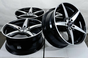 16x7 5x114 3 5x100 Black Wheels Fits Volkswagen Beetle Civic Jetta 5 Lug Rims