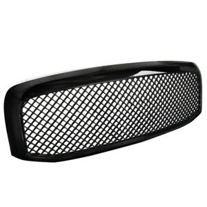 For 2006 2008 Dodge Ram 1500 2500 3500 Abs Front Hood Mesh Glossy Black Grille