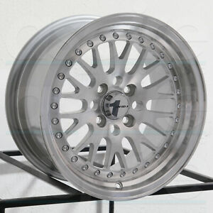 15x8 Avid1 Av12 Av 12 4x100 25 Silver Machined Wheels Rims Set 4