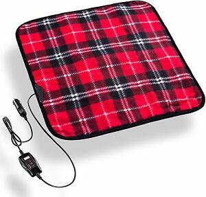 Zento Deals Heated Travel Car Pad 12v Red Plaid Electric Warm Pad Non Flammable