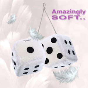 Zento Deals Pair 2 75 Hanging White Auto Car Mirror Keychain Plush Fuzzy Dice