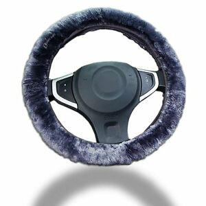 Zento Deals Gray Sheepskin Plush Stretch On Vehicle Car Steering Wheel Cover