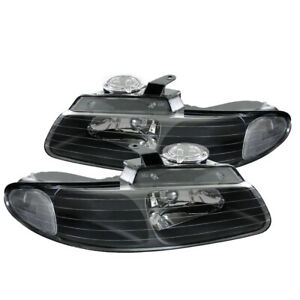 1996 2000 Dodge Caravan Chrysler Town Country Black Headlight Replacement Pair