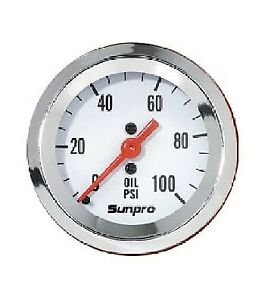 Sunpro 2 Mechanical Oil Pressure Gauge 0 100 Psi White Chrome Bezel New Cp8206