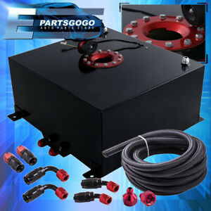 Black Aluminum 13 Gallon Fuel Cell Tank Red Cap Braided Nylon Oil Feed Line