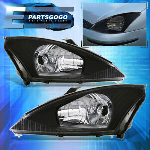 For 00 04 Ford Focus Driving Replacement Headlights Lamps Assembly Chrome Clear