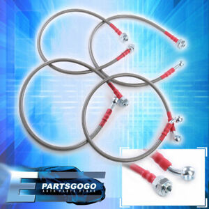 For 01 05 Civic Front Rear Stainless Steel Hose Oil Brake Line Cable Red Cap