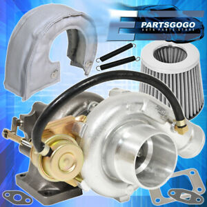 T3 T4 V band Oil Cooled Turbo Charge High Flow Air Filter Heat Shield Silver