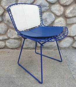 Authentic Knoll Blue Powder Coat Bertoia Chair Wire W Seat Back Cushions Xlnt