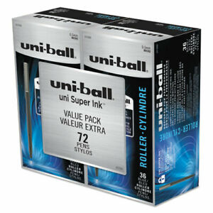 Uni ball Stick Roller Ball Pen Micro 0 5mm Blue Ink Black Barrel 72 pack