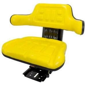 Yellow Waffle Style Tractor Suspension Seat Fits John Deere 5200 5210 5300 5310