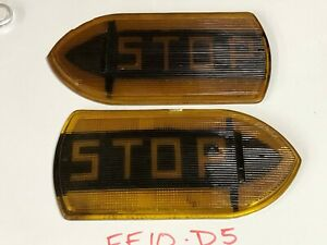 Pair Vintage Guide R t5a Stop Turn Signal Light Fire Truck Old Bus Glass Lens