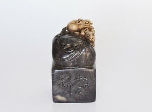 Finely Carved Rats On A Sack Chinese Soapstone Seal Happy Year Of The Rat