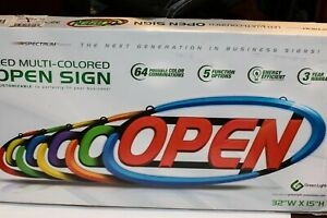Green Light Innovations Spectrum Typhoon Led Open Sign For Business 32 X 15