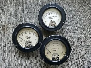 Vintage Jewell Volts Amps Galvanometer Gauges Set Of 3 From 1930 s Steampunk