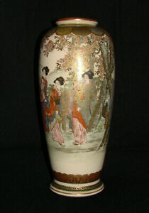 Large Antique Exceptionally Fine Quality Meiji Japanese Satsuma Vase 8 1 2
