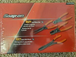 Snap On Tools New Sealed In Box Pliers 4 Piece Set orange In Color