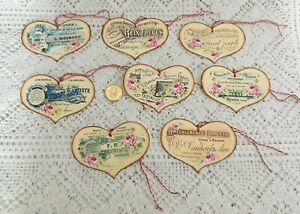 8 Valentine S Day French Ephemera Heart Shape Linen Cardstock Gift Hang Tags