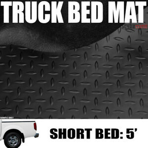 For 05 19 Frontier Crew 5 Ft 60 Blk Rubber Diamond Pattern Truck Bed Floor Mat