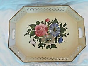 Elegant Stunning Antique Nashco Toleware Painted Tray 20 X 15 Signed