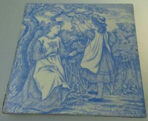 Wedgwood May Month Tile Transfer Print C1880 Light B W Old English Series
