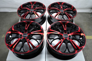 17 Wheels Honda Civic Accord Corolla Aerio Scion Iq Xb Xa Black Red Rims 4 Lugs