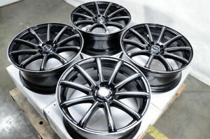 18 Wheels Fit Altima Maxima Impreza Camry Celica Beetle Jetta Black Rims 5 Lugs