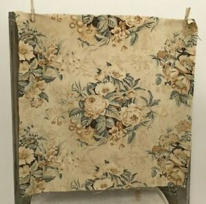 Antique Vintage French Fabric Printed Cotton Floral Large Scale Decor Pillows