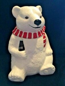 Coca Cola Cookie Jar Holiday Polar Bear Always Cool 1994 Coke White Red Scarf