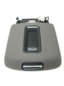 Tahoe Yukon Denali Gray Leather Center Console Armrest Lid W Phone Charger Oem