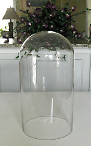 Large Antique Oval Dome Hand Blown Glass Globe Clock Flowers Taxadermy Diorama