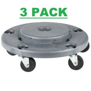 3 Pack Gray Plastic Trash Garbage Can Bin Mobile Dolly W 5 Casters Commercial