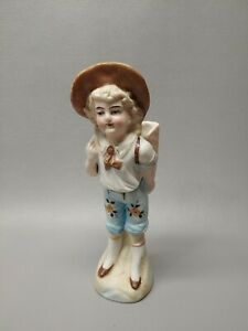 Vintage Germany Bisque Figurine German Porcelain Girl W Backpack Planter Vase