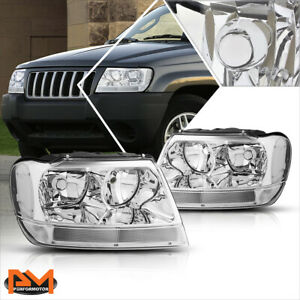 For 99 04 Jeep Grand Cherokee Wj Chrome Housing Headlight Clear Side Corner Lamp