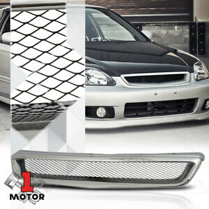 For 1999 2000 Honda Civic fence Mesh glossy Chrome Abs Front Bumper Grille grill