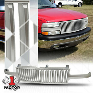 For 1999 2002 Silverado Tahoe Suburban Vertical Bar Glossy Silver Abs Grille
